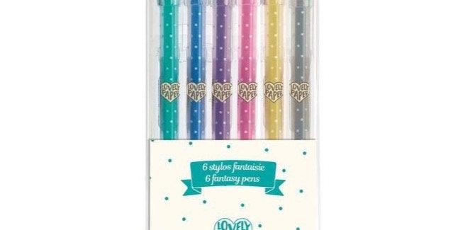 Les couleurs - 6 stylos gel pailletés