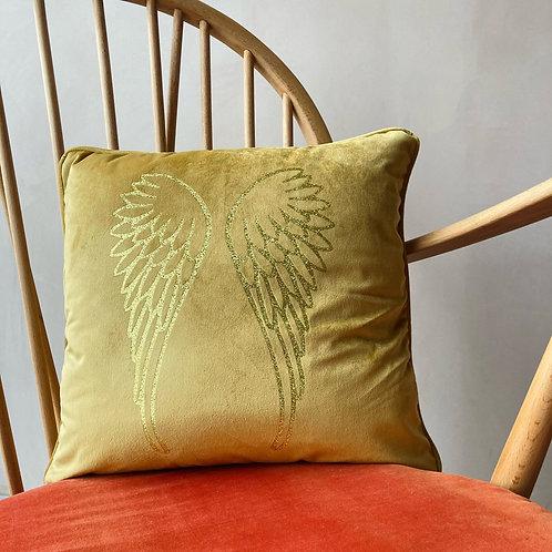 Yellow Velvet Wings Cushion