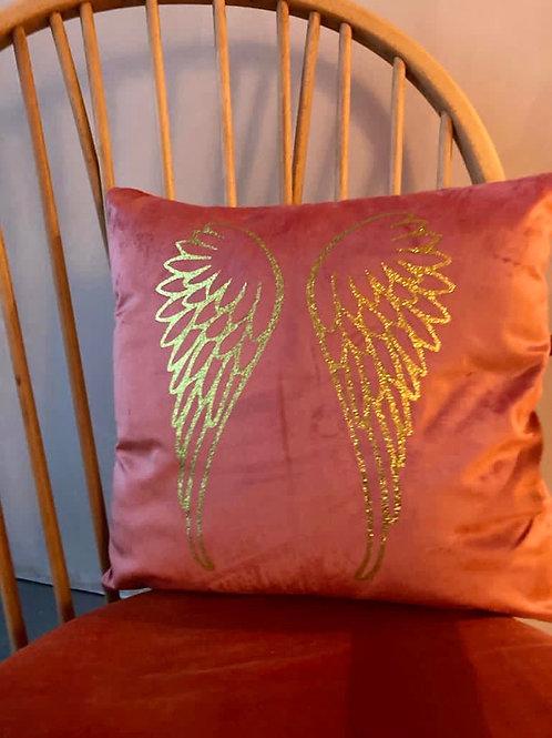 Coral Velvet Wings Cushion