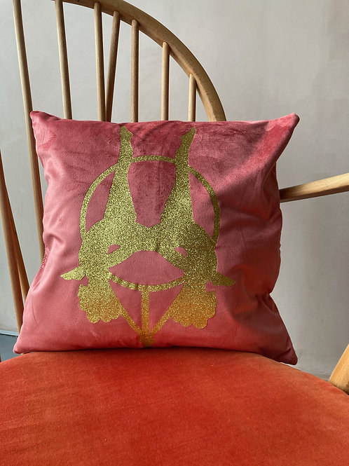 Coral Velvet Aerialists Cushion