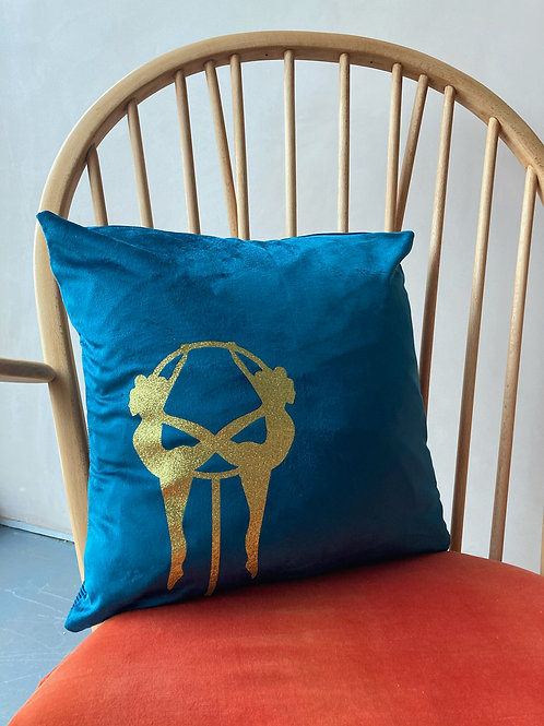 Teal Velvet Aerialists Cushion