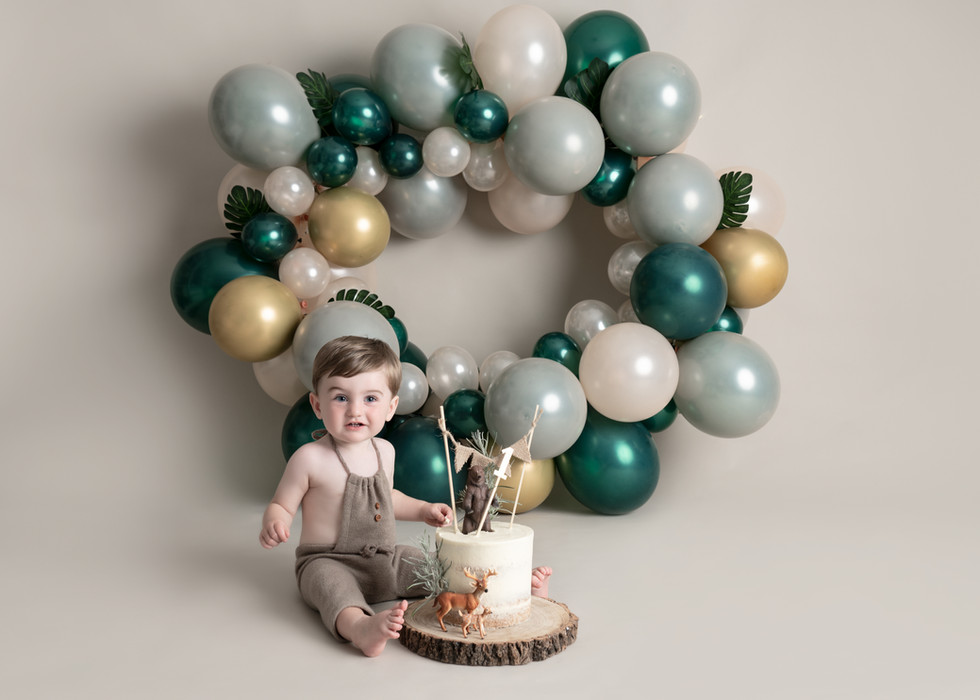 Sage Green Balloon Garland Cake Smash Photography Forest Theme Boys Cake Smash