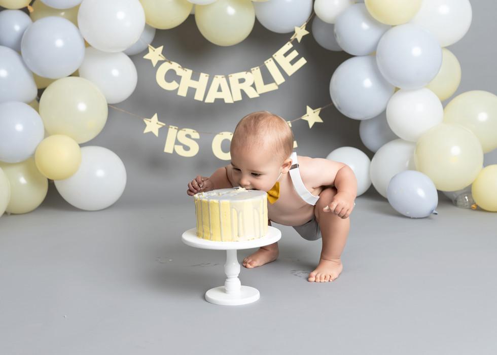 Grey and Yellow Cake Smash Theme Balloon garland Cake Smash