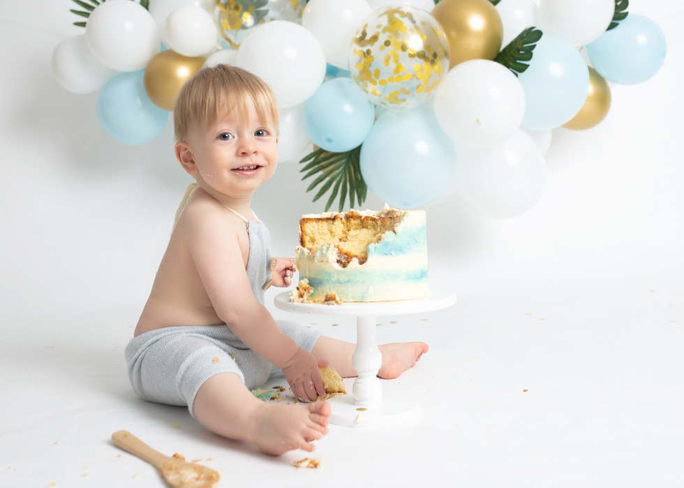 Gold Blue Cake Smash Theme 1st Birthday Essex