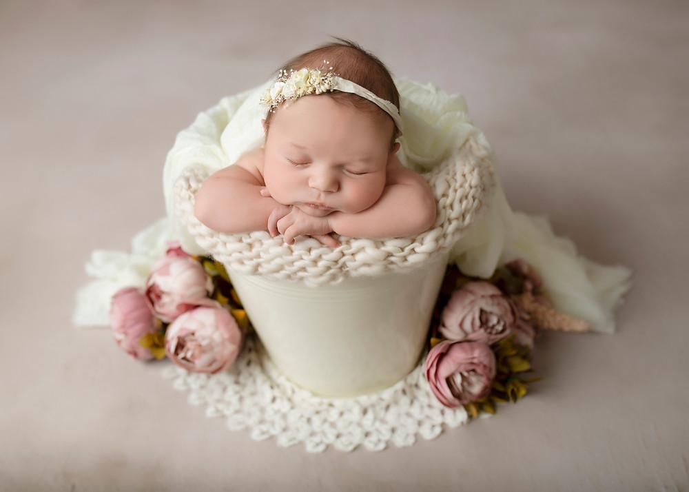 Neutral Baby Newborn Photography Bucket Essex