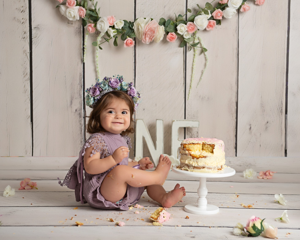 Cake Smash Floral Pink and Purple Naked Cake Flower Headband