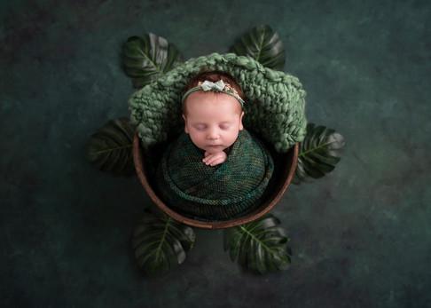 Green Newborn Baby Photographer Bubbles