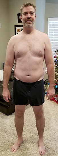 Founder Dan at his heaviest weight, picture front view