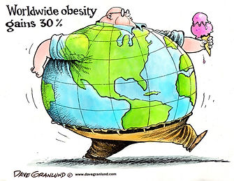 Overweight cartoon man who's shirt is the world globe making him look as big as the earth