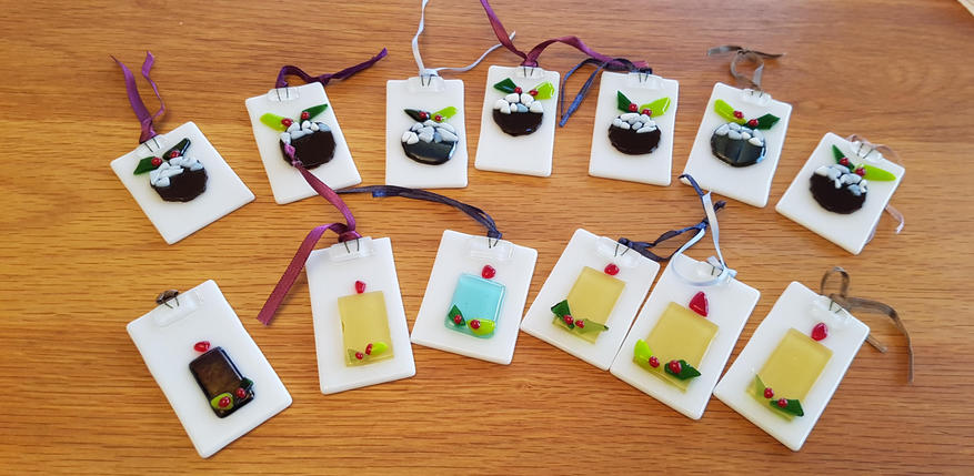 Fused Glass Christmas Tree Decorations