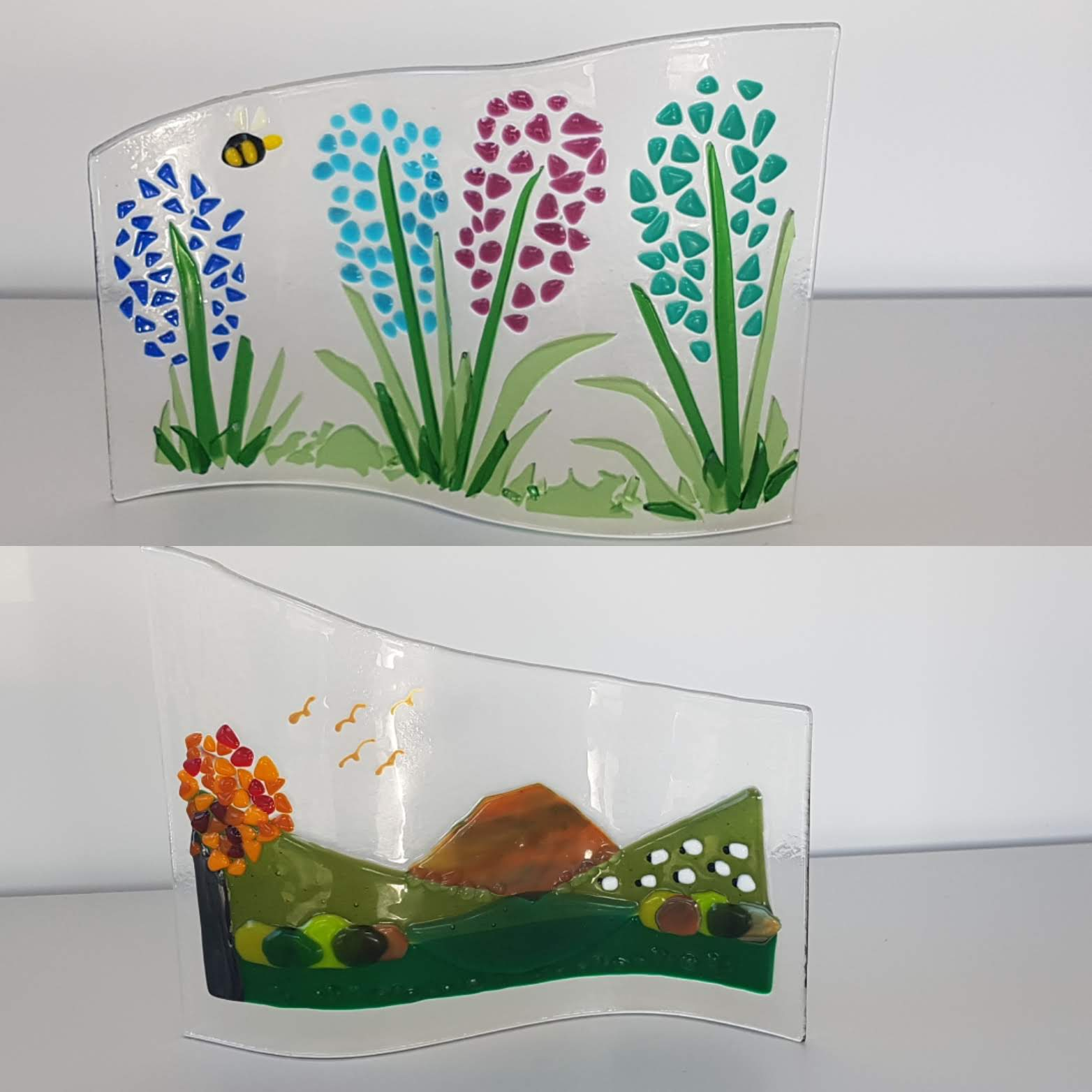 Large Cut Fused Glass Waves