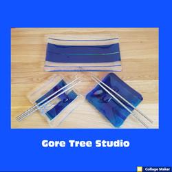 Blue Dichroic Sushi Set