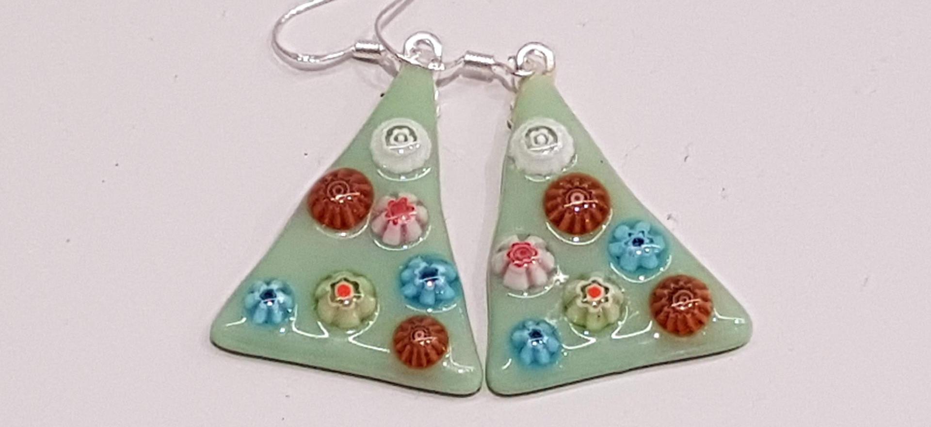 Festive Fused Glass Earrings - Lime Green