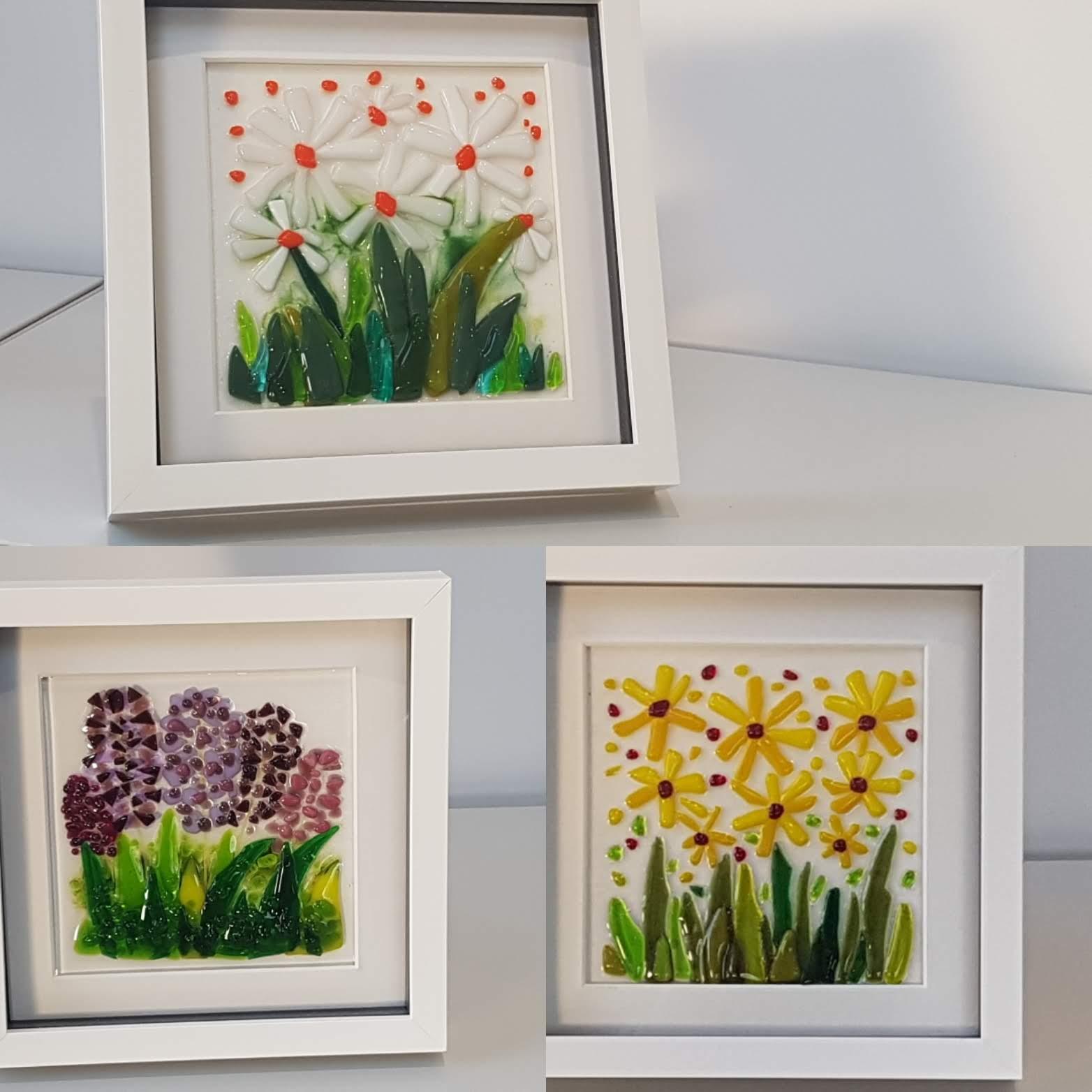 Framed Fused Glass Art - Various Flower Designs