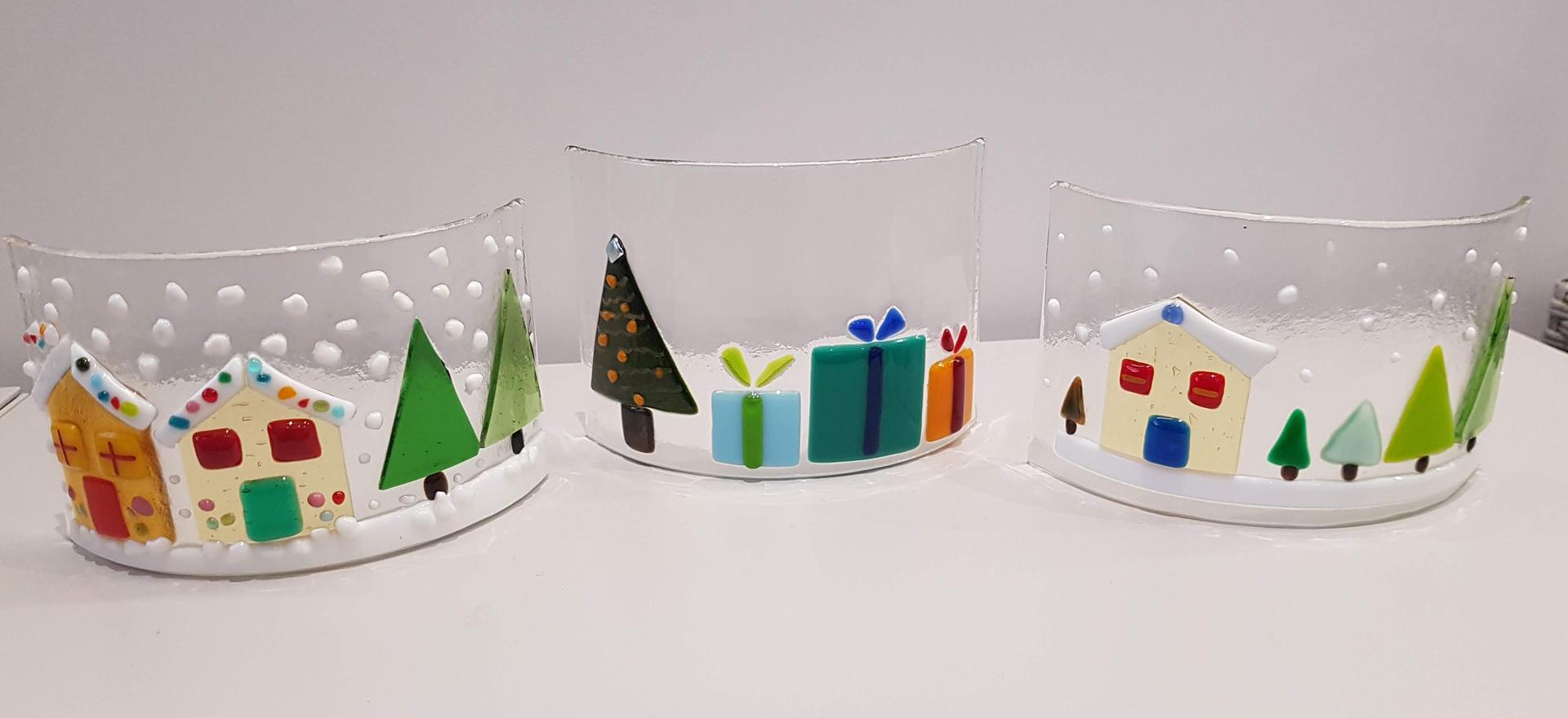 Medium Christmas Fused Glass Curves