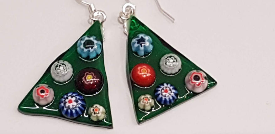 Festive Fused Glass Earrings - Dark Green