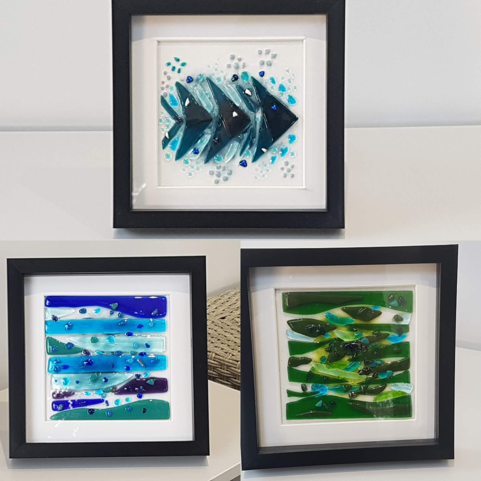 Framed Fused Glass Art - Various Abstract Designs