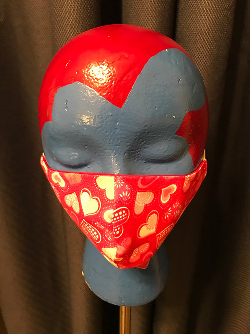 Adult Flat Face Mask - Hearts3