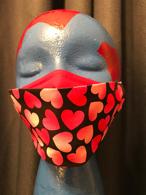 Adult 3D-2Ply Face Mask - Hearts1