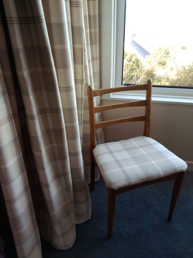 New curtains throughout at Whindley. We were able to up-cycle some chairs with the same fabric.