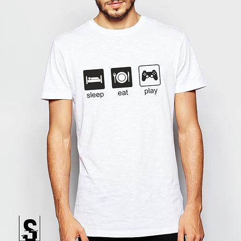 T-shirt με στάμπα SLEAP EAT PLAY