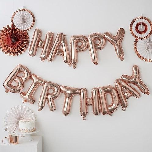 """Μπαλόνι Μεταλλιζέ Rose-Gold Γράμματα """"Happy Birthday"""""""
