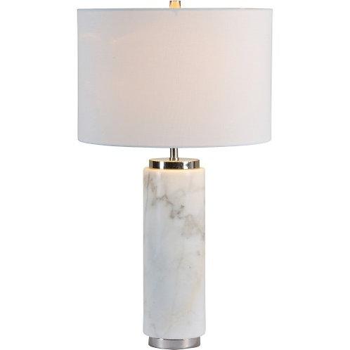 LAMPE CHROME ET MARBRE ABAT JOUR BLANC