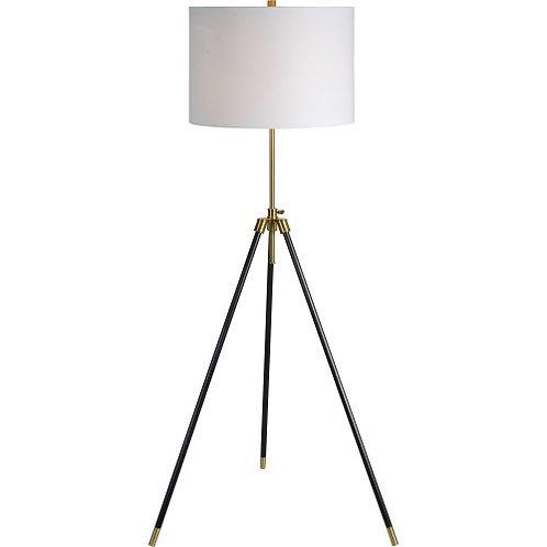 LAMPE MÉTAL NOIR ET OR BROSSÉ / ABAT-JOUR BLANC