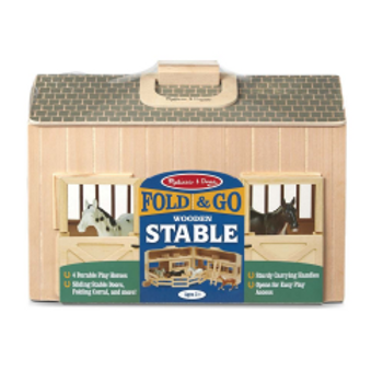 Fold & Go Wooden Stable with 4 horses