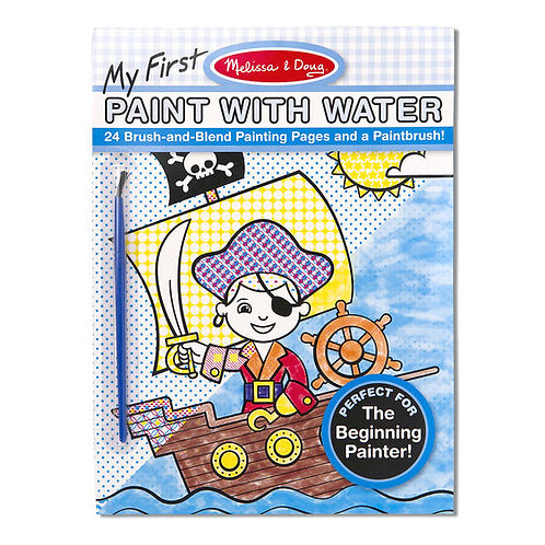 My First Paint With Water Kids' Art Pad With Paintbrush - Pirates, Space, Constr