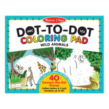 Dot to Dot Wild Animals Coloring Pad