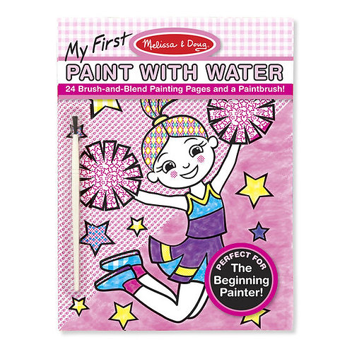 My First Paint With Water Kids' Art Pad With Paintbrush - Cheerleaders, Flowers,