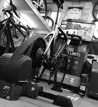 The turbo trainer station inside the Ark Cycles