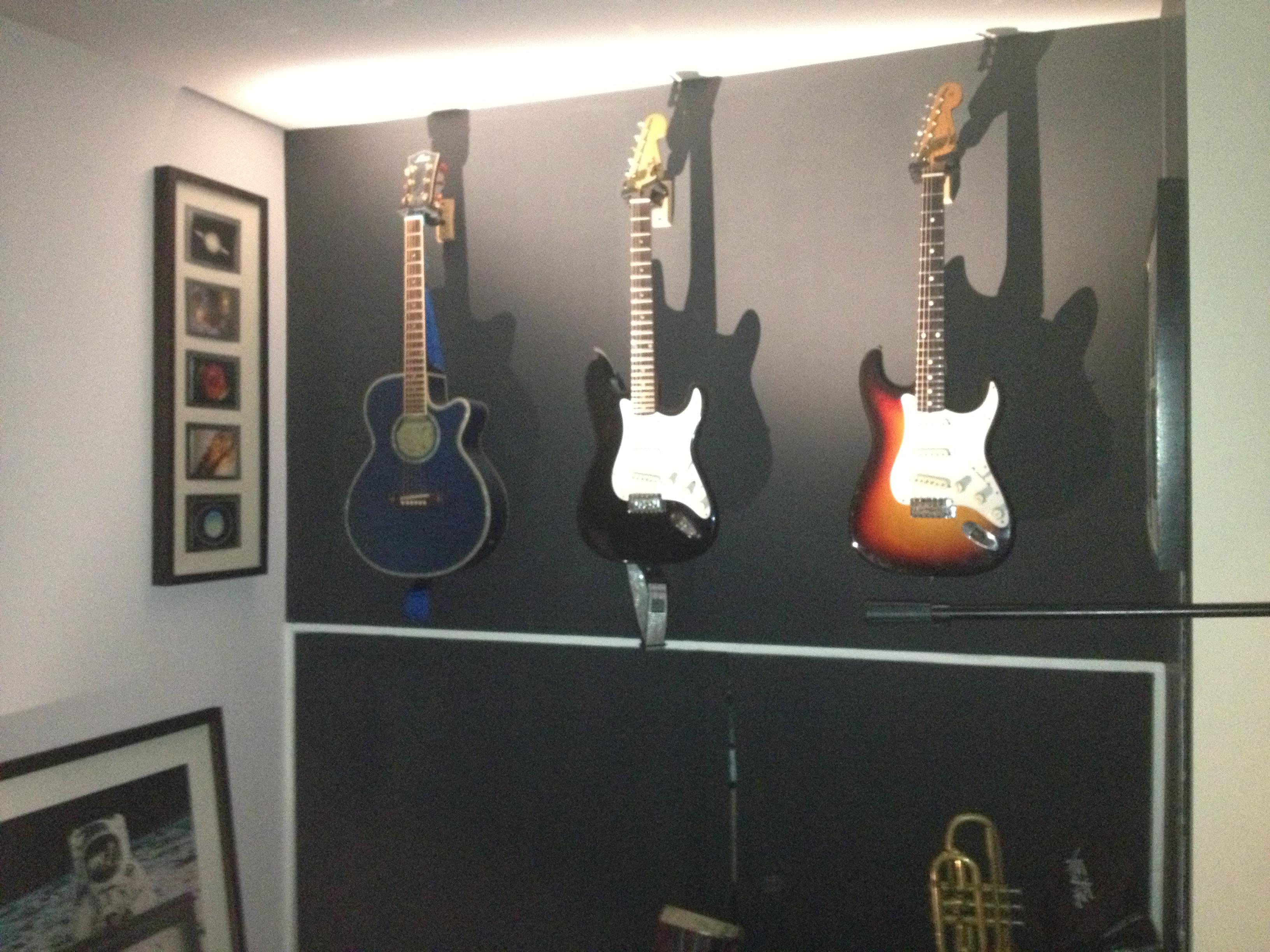 My guitars hung up on my studio wall