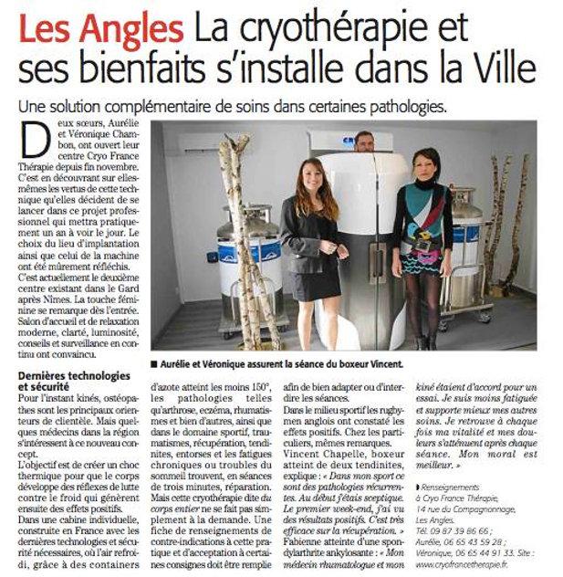 Cryo France Thérapie innove dans le Gard