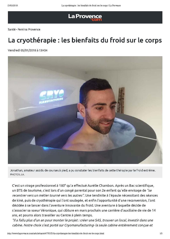 La cryotherapie disponible dans le Gard