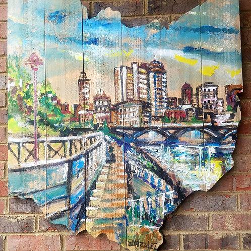 Handpainted OH Wood Map Columbus