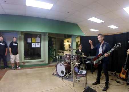 giving a clinic with drummer Elijah Wood