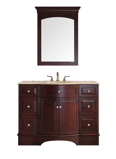 "48"" Lotus Single Sink Vanity with Travertine Marble Top and Mirror"