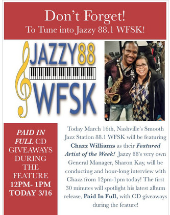 Jazzy 88.1 WFSK Interviews Chazz as Artist Of The Week!