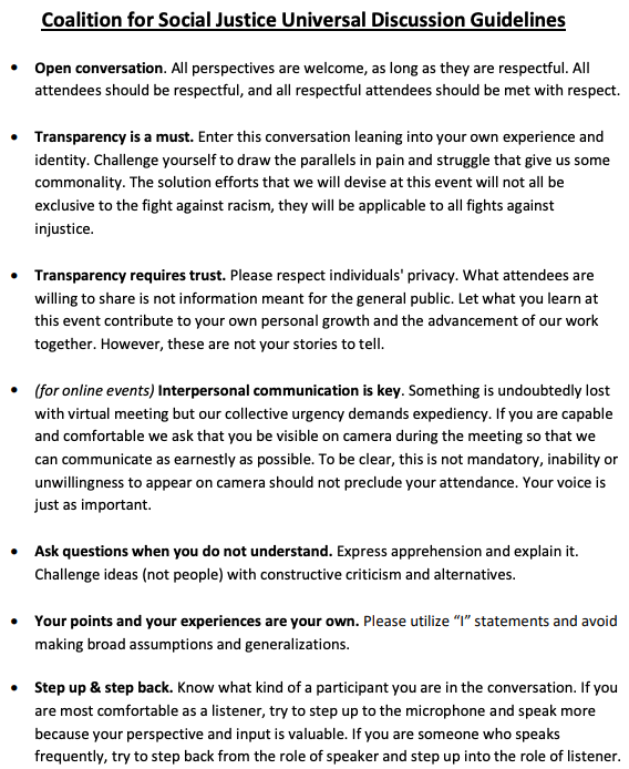 CSJ Discussion Guidelines