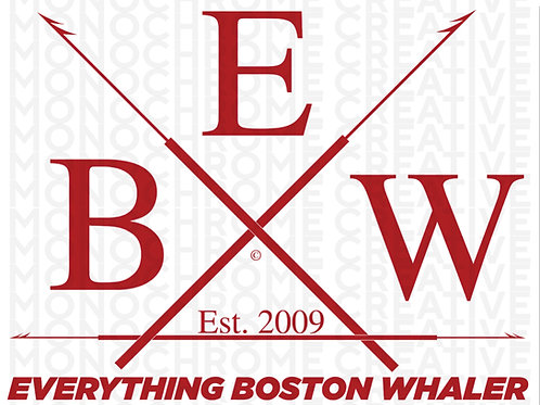 "5"" x 3.75"" White and Red EBW Crossed Harpoons Decal"