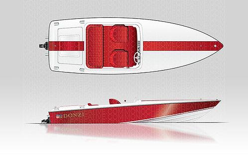 20x30 18 Donzi Red Hull - Red Stripe