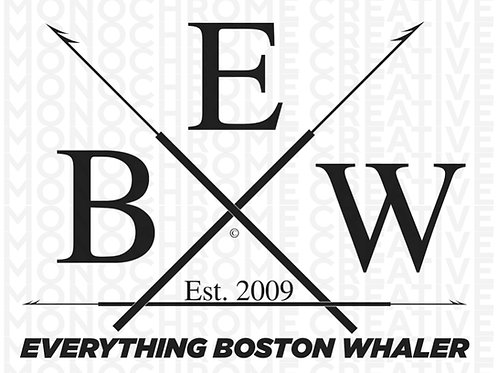 "5"" x 3.75"" White and Black EBW Crossed Harpoons Decal"