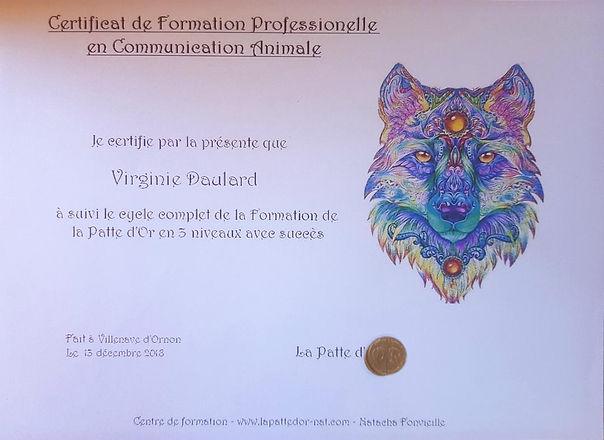 Diplôme Communication animale - Virginie Daulard