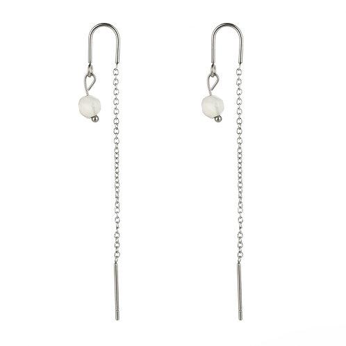 Dangling White Stone - Zilver