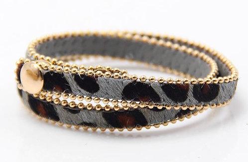 Armband 'Double Leopard' - Grijs