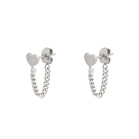 Oorbellen 'Heart and Chain' - Zilver