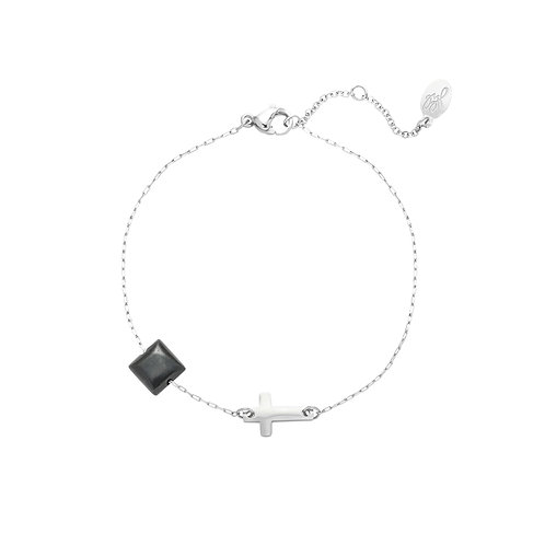 Armband 'Cross my Heart' - Zilver