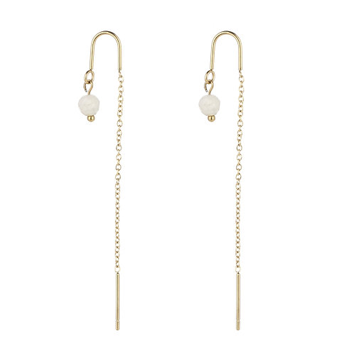 Dangling White Stone - Goud